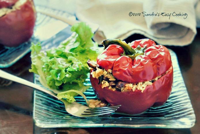 Vegetarian Paella Stuffed in Peppers