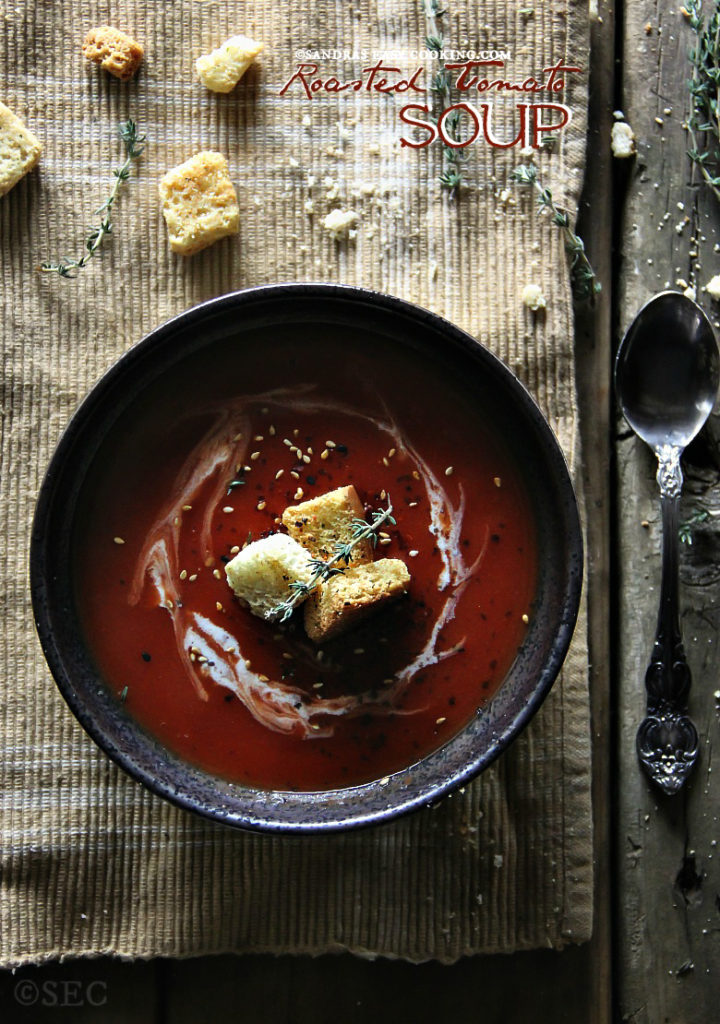 Roasted Tomato Soup with Parmesan-Garlic Croutons