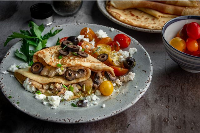 Savory Crepes with Mushrooms and Scallions