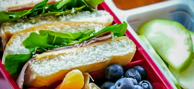 Lunch Box: Ham sandwich with Fresh Fruits and Veggies