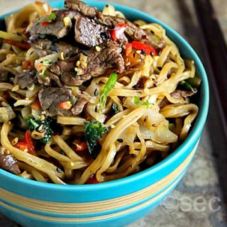 Beef Yakisoba -Japanese Fried Noodles with Beef