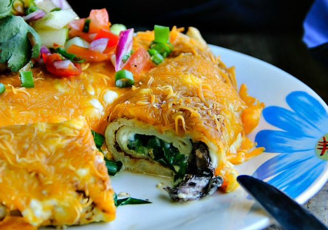 Baked Crepes with Mushrooms and Spinach