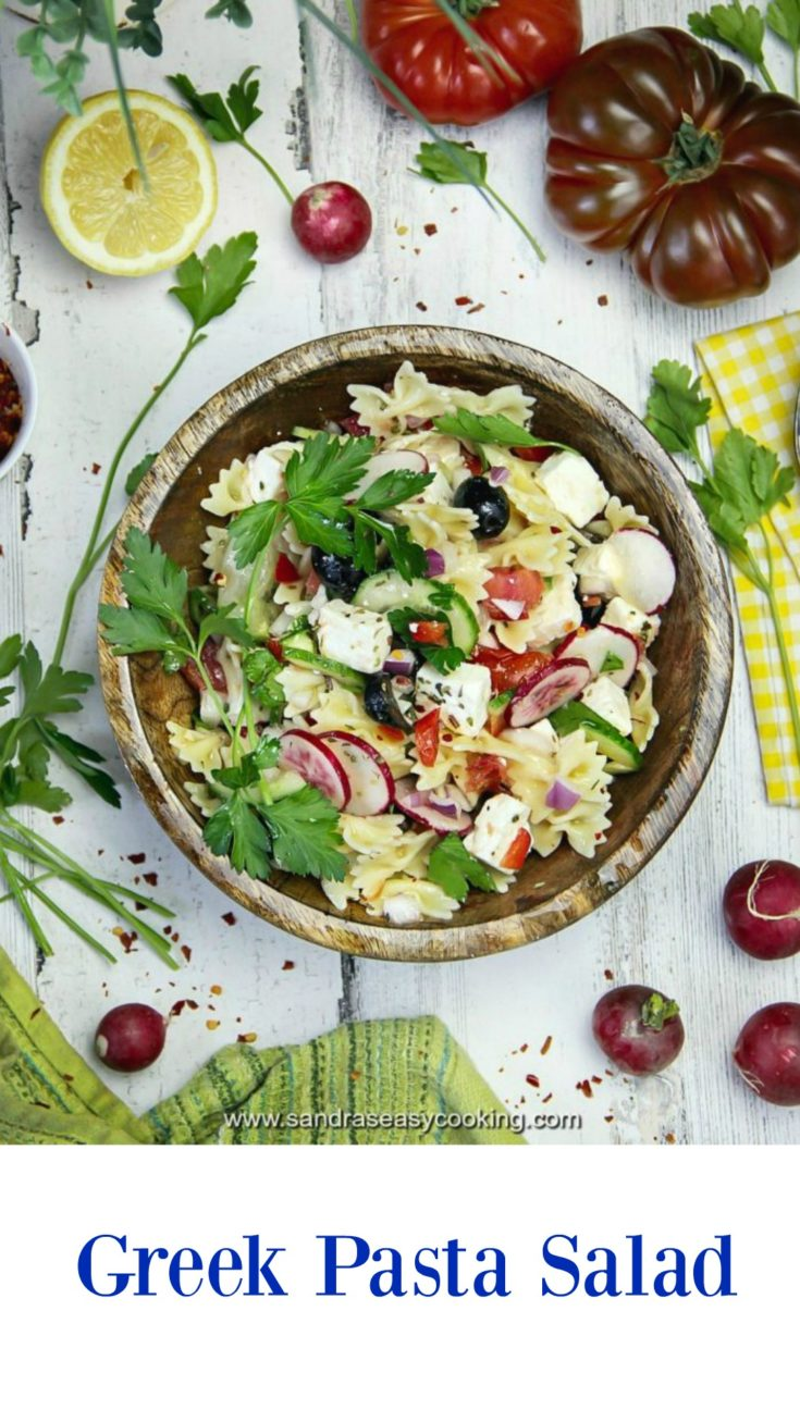 Easy and tasty veggie-packed, Greek-inspired pasta salad.