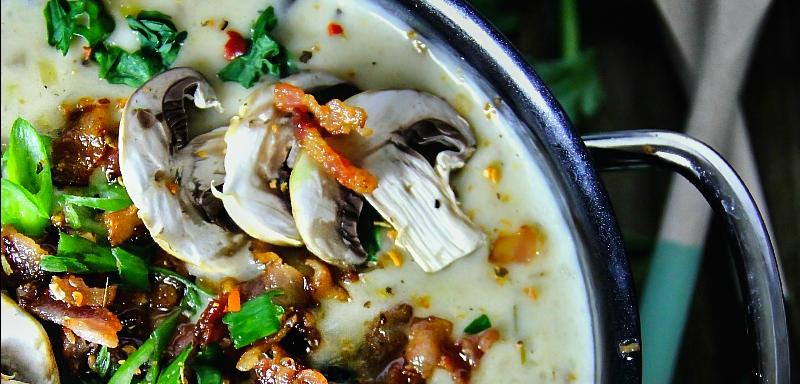 Leek, Potato and Mushroom Soup