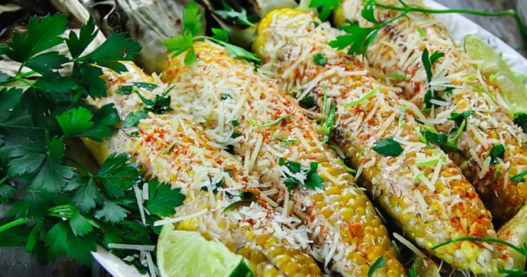 Grilled Corn on the Cob with Husks with Mayo-Sriracha Sauce