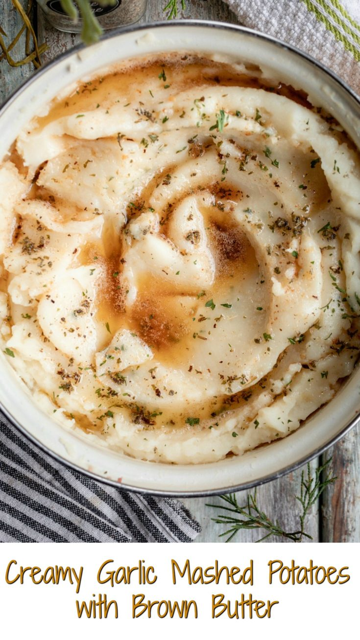 Recipe with a video for Creamy Garlic Mashed Potatoes with Brown Butter