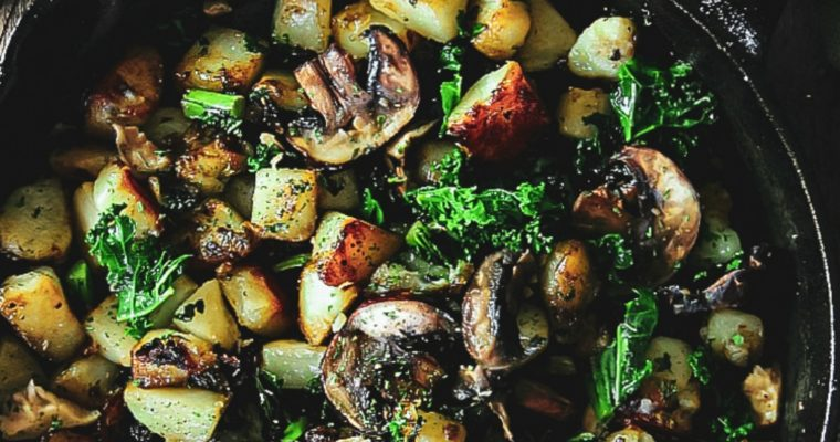 Potatoes, Kale and Mushrooms Skillet