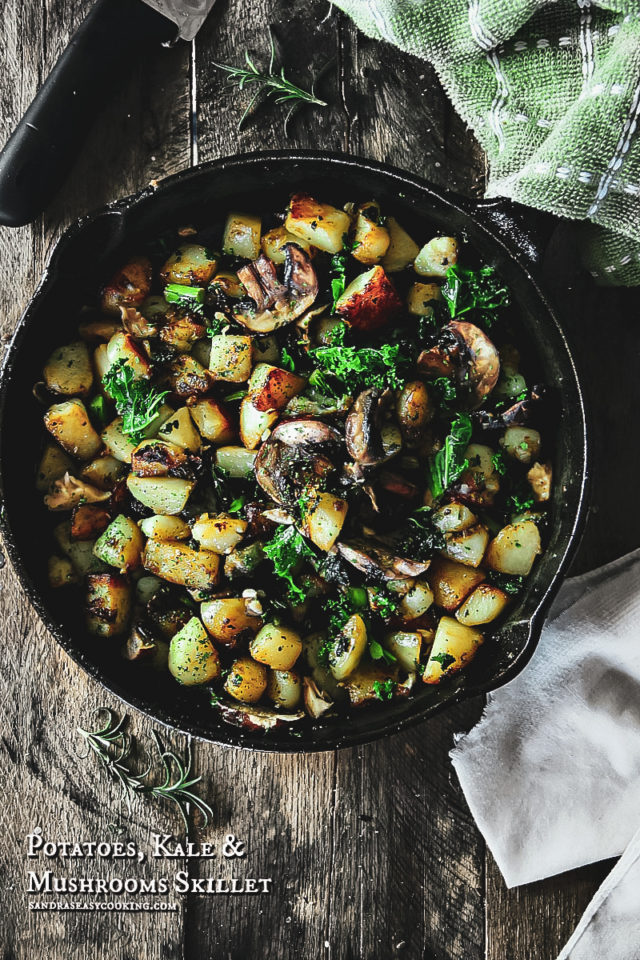 Potatoes, Kale, and Mushrooms Skillet