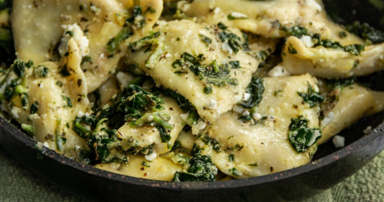 Ravioli Sautéed with Spinach