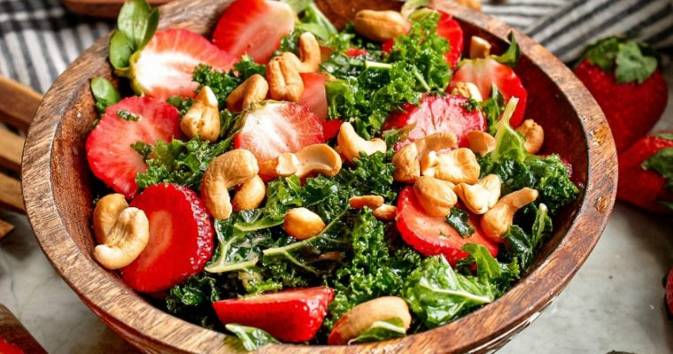 Massaged Kale and Strawberry Salad