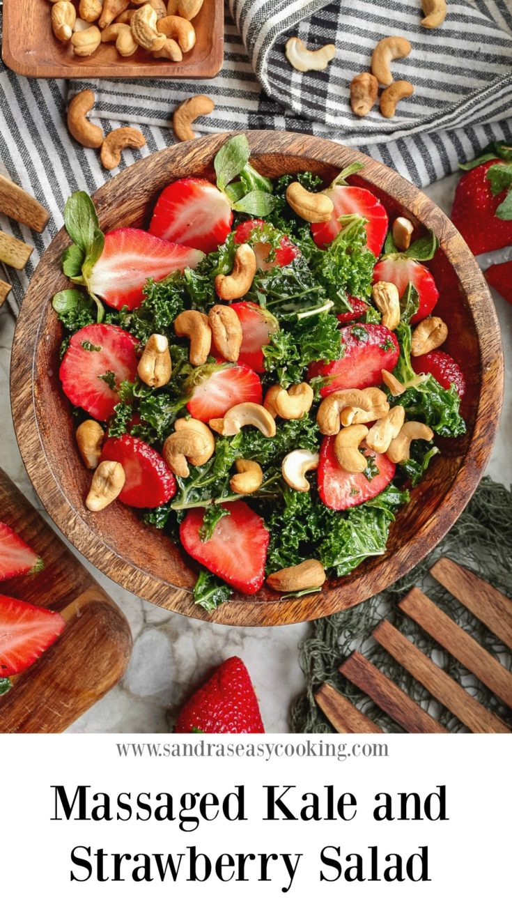 Easy and tasty Kale and Strawberry Salad with cashews