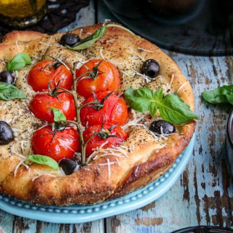 Dutch Oven Tomato and Olive Focaccia