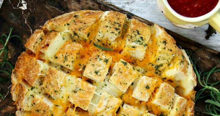 Pull Apart Two Cheese Bread Recipe with a Video