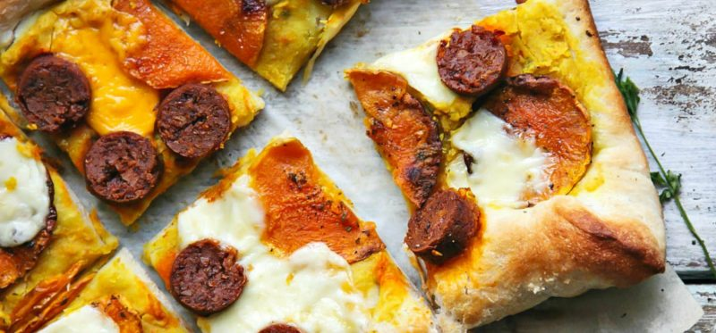 Thai Hummus Pizza with Butternut Squash and Vegetarian Sausages