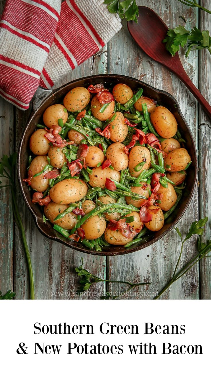 Southern Green beans and New Potatoes with Bacon #recipe