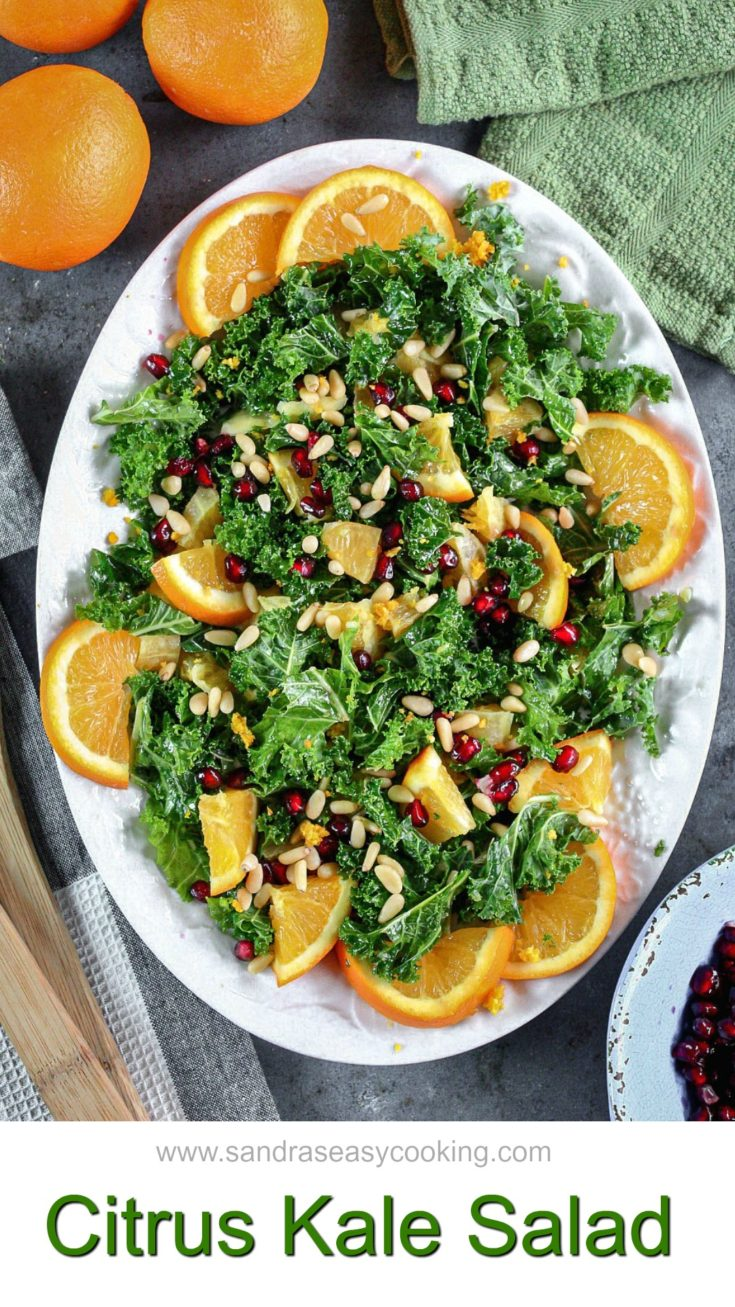 Perfect, healthy, nutty and balanced Citrus Kale Salad. A Beautiful marriage of ingredients that just brings harmony, happiness, and calmness to you and your body.