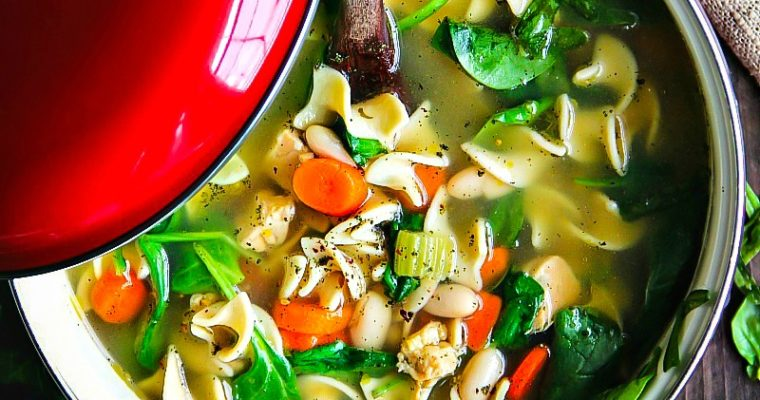Cannellini Beans and Spinach Chicken Noodle Soup