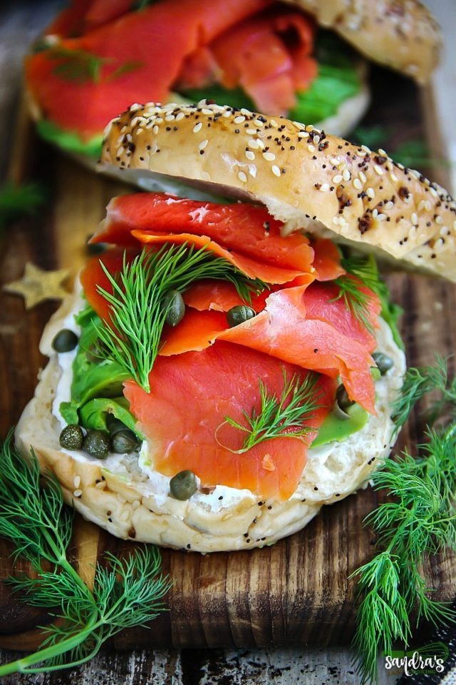 Smoked Salmon Bagel Sandwiches