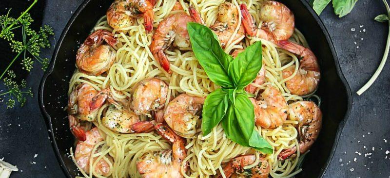 Spaghetti Aglio e Olio with Shrimp