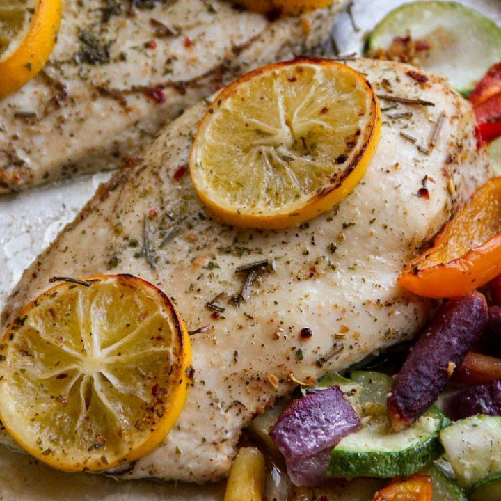 Lemon Herb Chicken and Veggies Sheet Pan