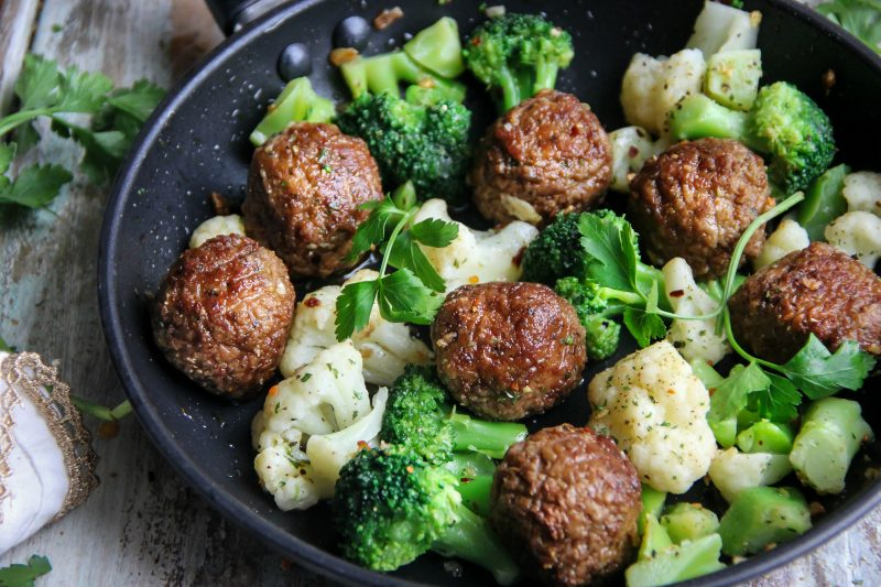 Meatless Meatballs with Cauliflower and Broccoli