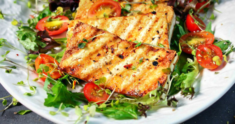 Skillet Grilled Tofu over Salad
