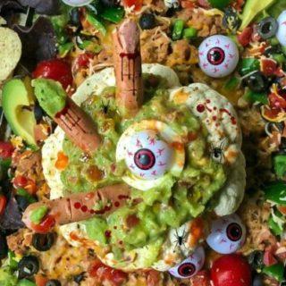 Spooky Halloween Cauliflower Bowl Bean Dip