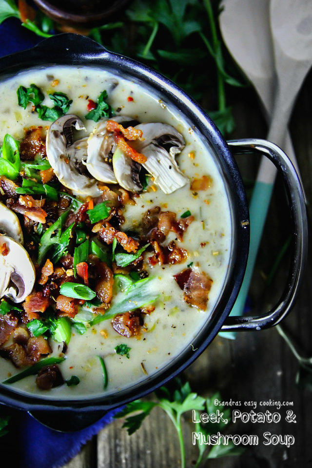 LEEK, POTATO AND MUSHROOM SOUP