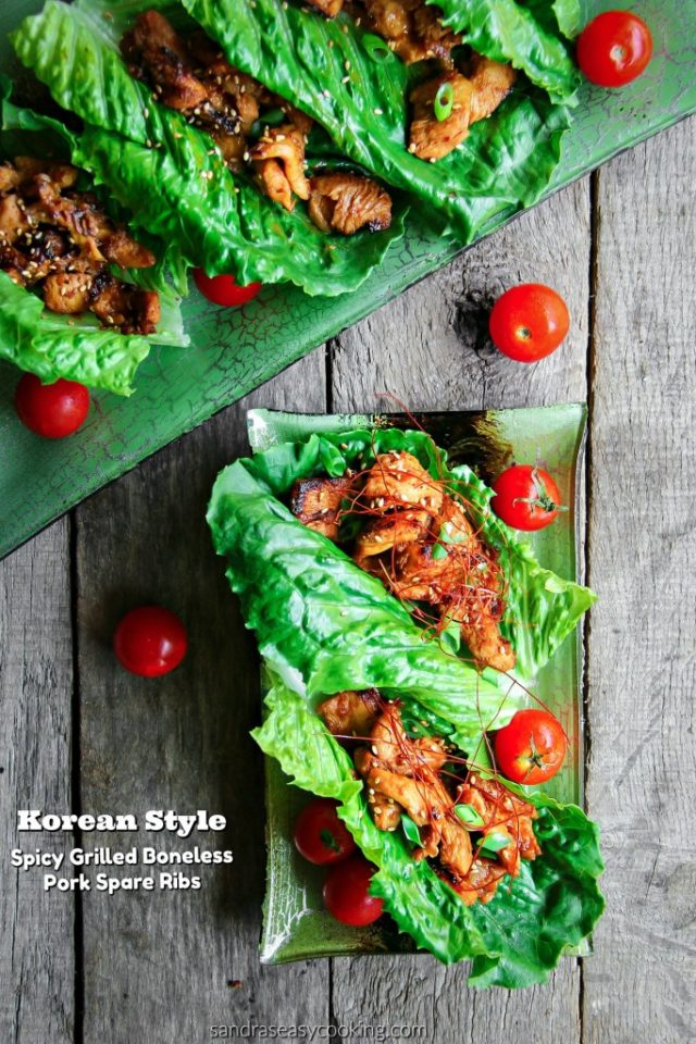 Spicy Grilled Boneless Pork Spare Ribs ~Korean Style