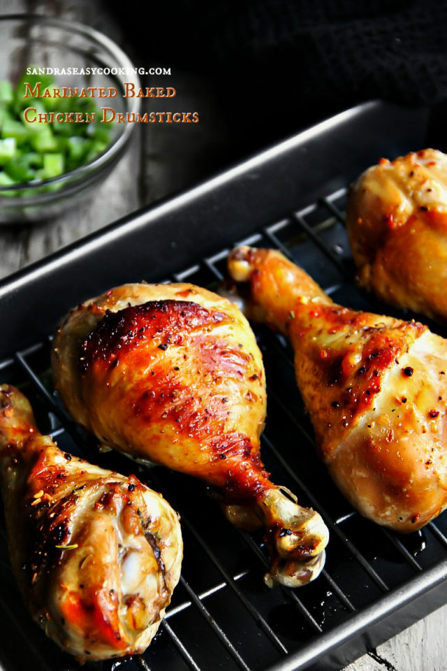 Marinated Baked Chicken Drumsticks with a video