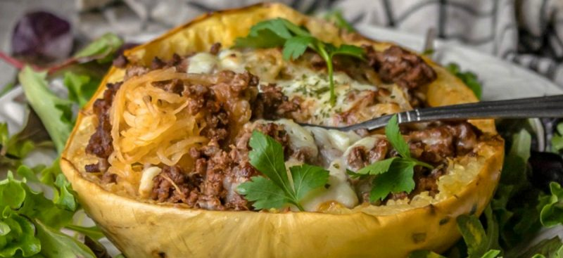 Beef and Sauce Stuffed Spaghetti Squash Boats