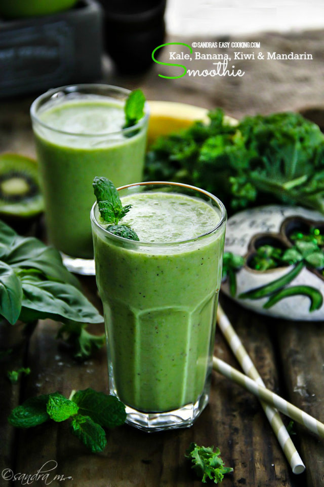 Shamrock Smoothie Kale, Banana, Kiwi and Mandarin Smoothie