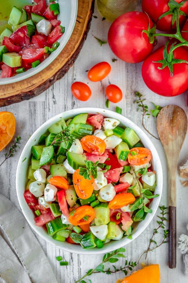 Cucumber-Tomato and Mozzarella Cheese Salad