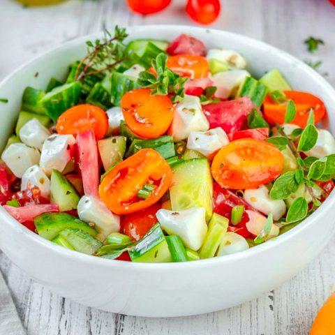 Cucumber, Tomato and Mozzarella Cheese Salad Recipe