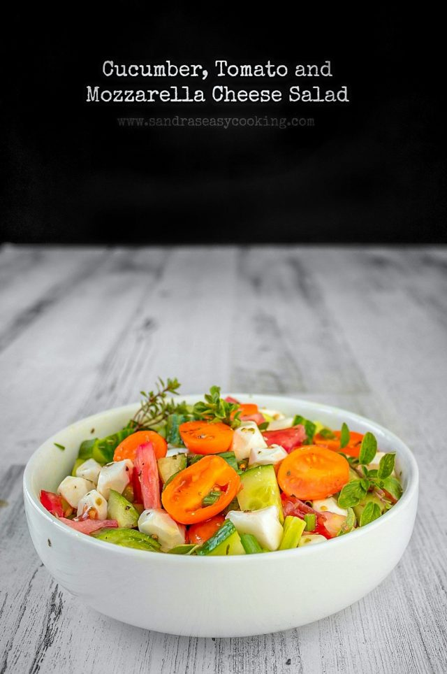 Cucumber-Tomato and Mozzarella Cheese Salad