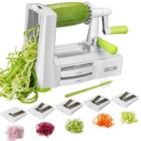 5-Blade Spiralizer Vegetable Spiral Slicer, Noodle Maker, Fruits and Veggies Slicer for Low Carb/Paleo/Gluten-Free Meals with Labeled Blades and Storage Box, Cleaning Brush (Free Recipe Book)