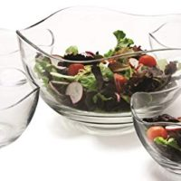 "Circleware 55635 Set of 5 Wavy Glass Mixing Bowls Set, Home Serving Dish Glassware for Fruits, Salad, Punch, Dessert, Food, Cheese, Candy, Ice Cream, Best Gifts, 1-10""D, 4-5.25""D, Gala 5pc"