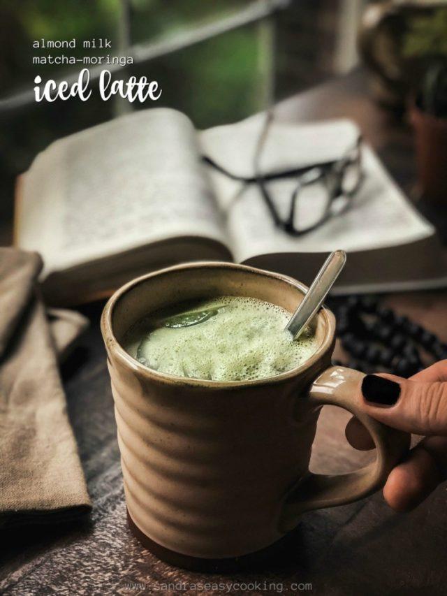 Almond Milk Matcha Moringa Iced Latte