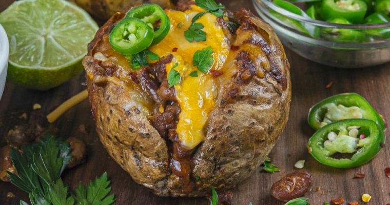 Beef Chili Baked Potatoes