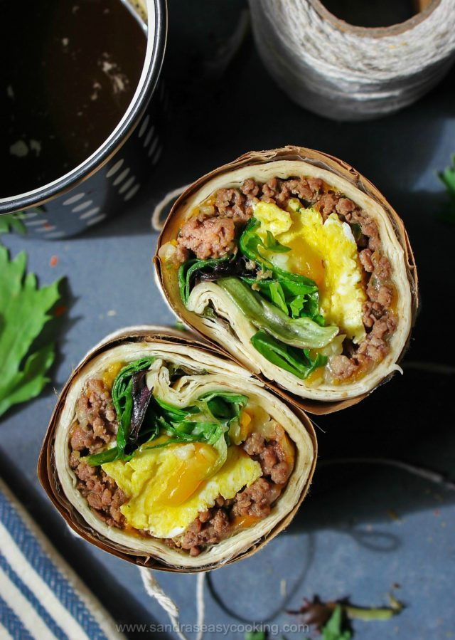 Breakfast Eggs and Beef Wrap- It is a quick, yet perfectly tasty meal to get you through your busy day.