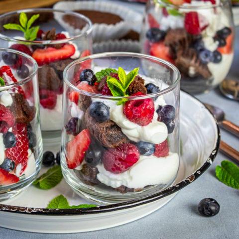 Recipe for Brownies and Yogurt Summer Parfait
