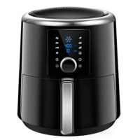 OMORC Air Fryer XL 6QT, Instant Temp/Time Control (For Wet Finger) & LED Touchscreen, 1800W 8-15 Presets for Air Fry/Roast/Bake/Keep Warm, Dishwasher Safe, Nonstick, BPA Free, 2-Year Warranty (ME122)