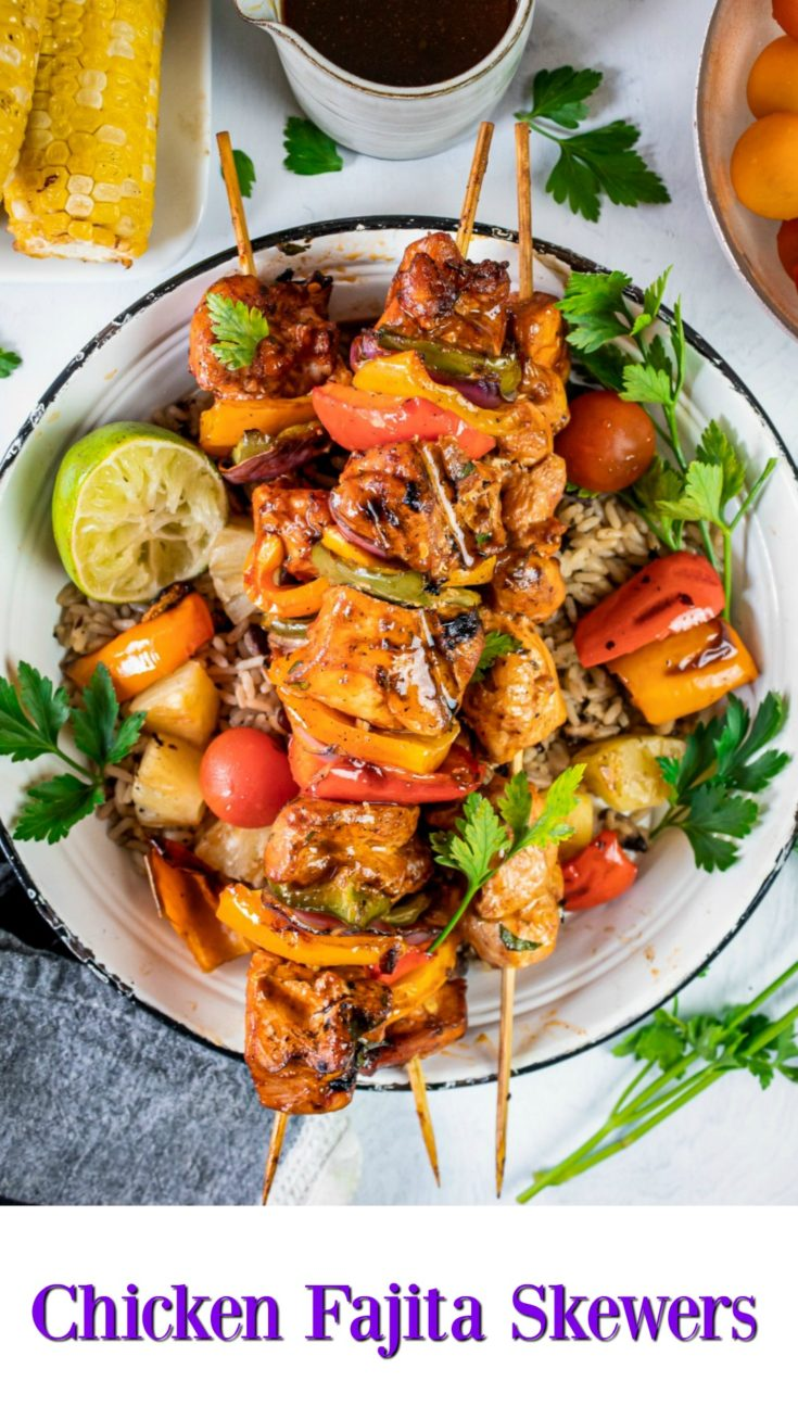 Chicken Fajita Skewers are fresh, tasty, healthy, colorful, and the ultimate summer grilled food that everyone loves.