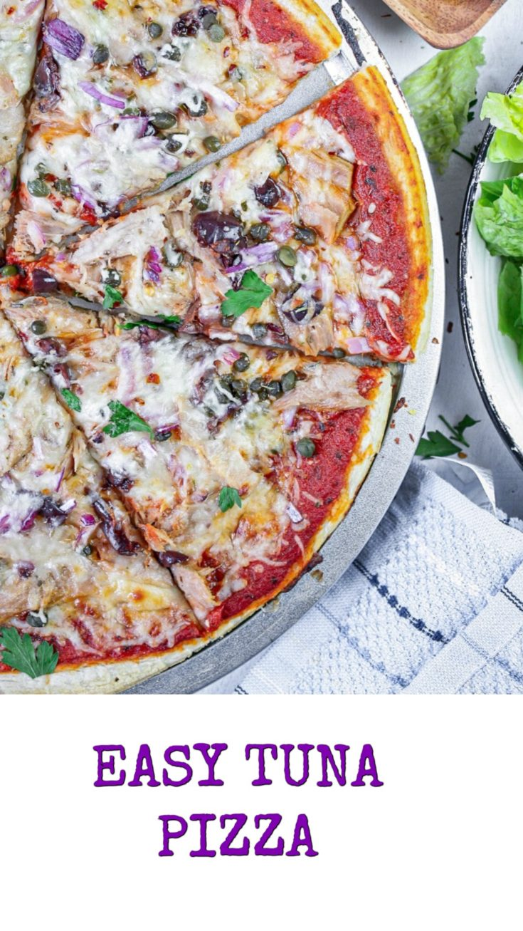 This tasty and easy tuna pizza is amazing all year round. You may make your own dough, use store-bought or perhaps tortilla. Whatever you choose it is absolutely amazing.