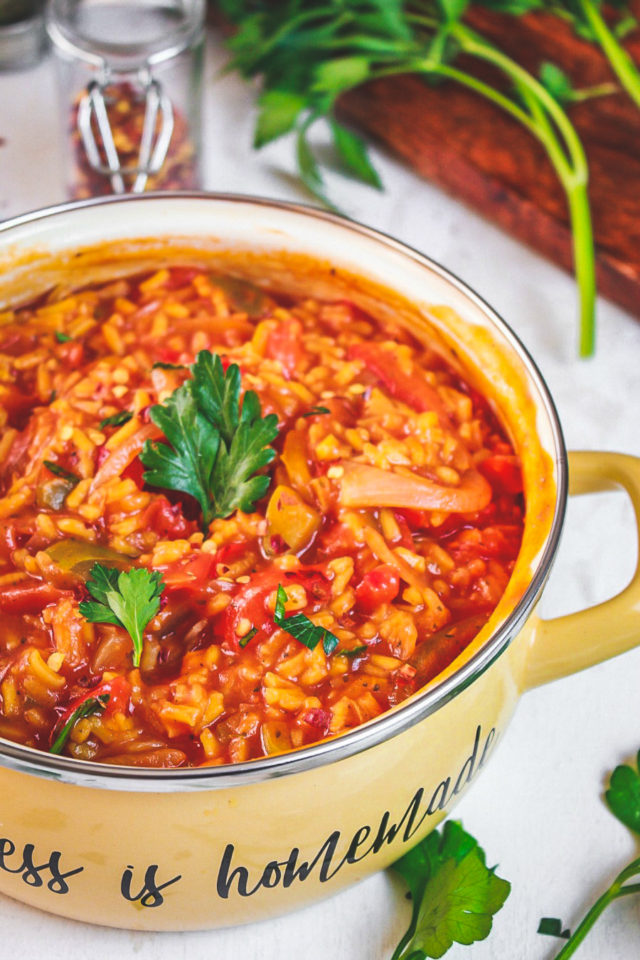 Yellow Rice with Peppers and Tomato Sauce
