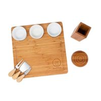 Full-Bundle Cheese Board and Food Serving Set, 13.4 Inches x13.4 Inches Bamboo Charcuterie Board with 4 Wine Coasters, 3 Ceramic Bowls, and Cutlery Set Included