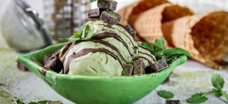 Matcha Ice Cream with Dark Chocolate
