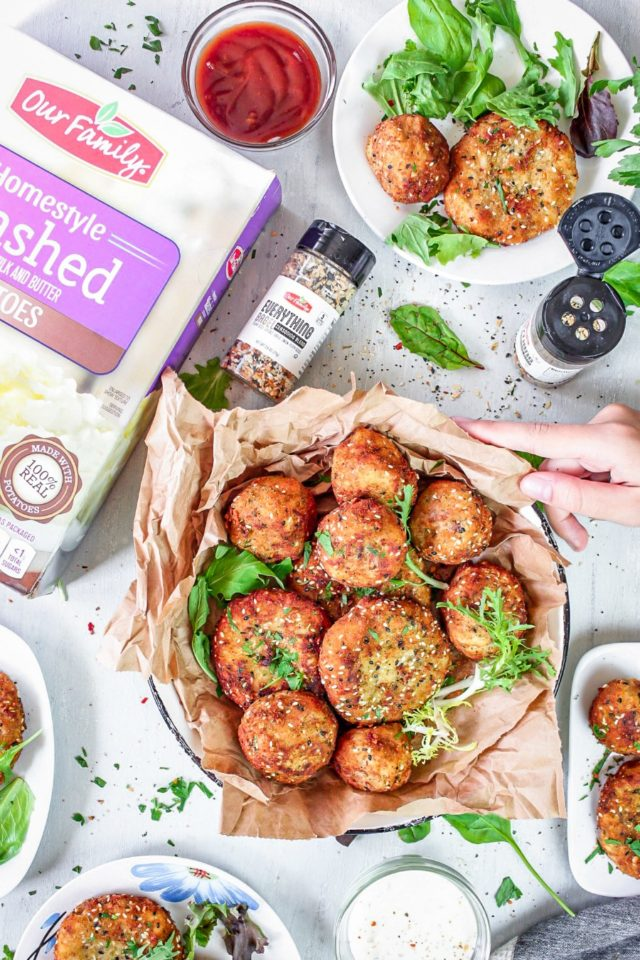 Potato and Beef Everything Bagel Croquettes