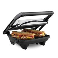 "Hamilton Beach Electric Panini Press Grill with Locking Lid, Opens 180 Degrees for Any Sandwich Thickness (25460A) Nonstick 8"" x 10"" Grids Chrome Finish"