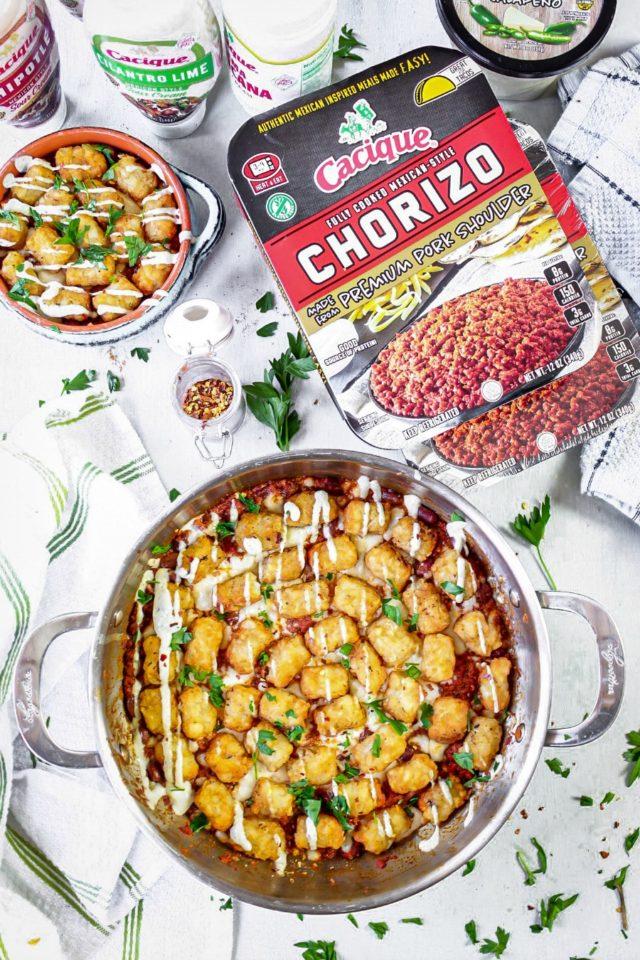 Chorizo Chili Tater Tots Casserole